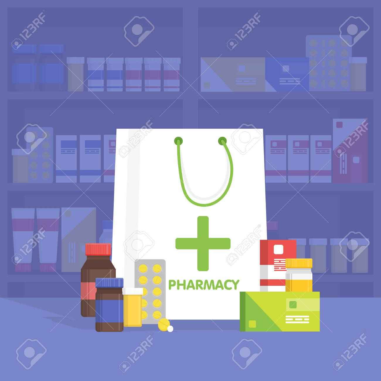 Modern interior pharmacy and drugstore. Sale of vitamins and medications. Vector simple illustration. - 52502043