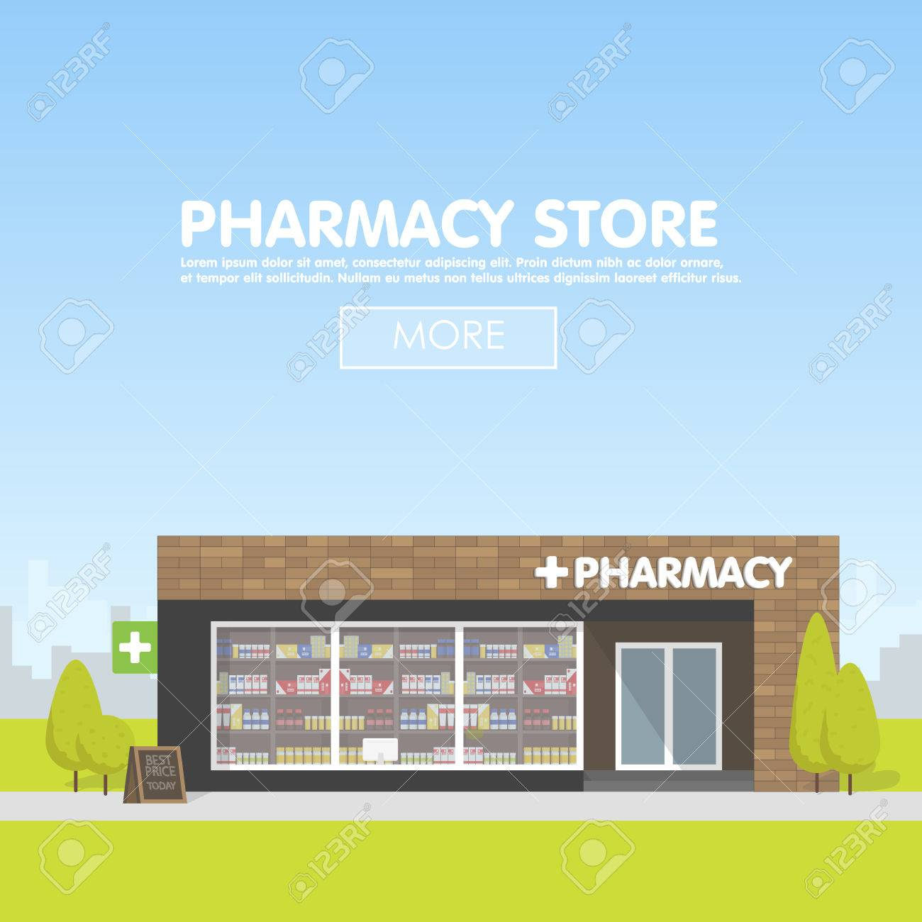 facade of pharmacy in the urban space the of drugs and facade of pharmacy in the urban space the of drugs and pills template