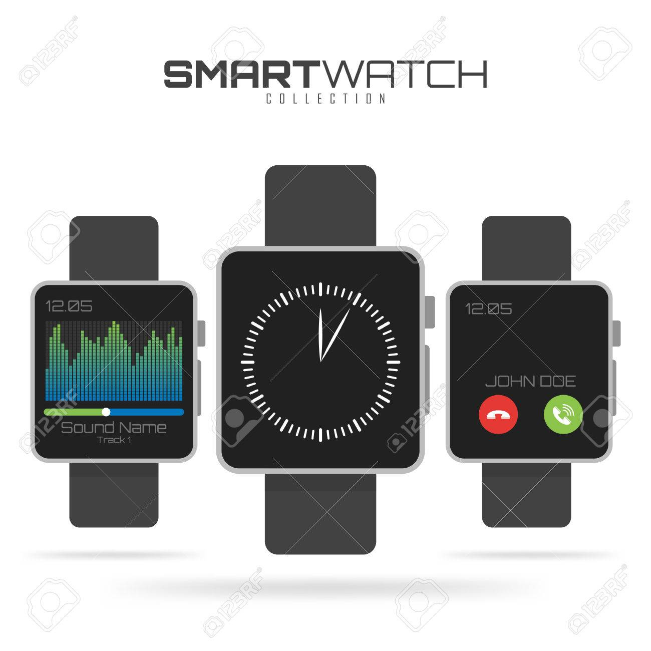 Conjunto De Diferentes Tipos De Relojes Inteligentes Futuras