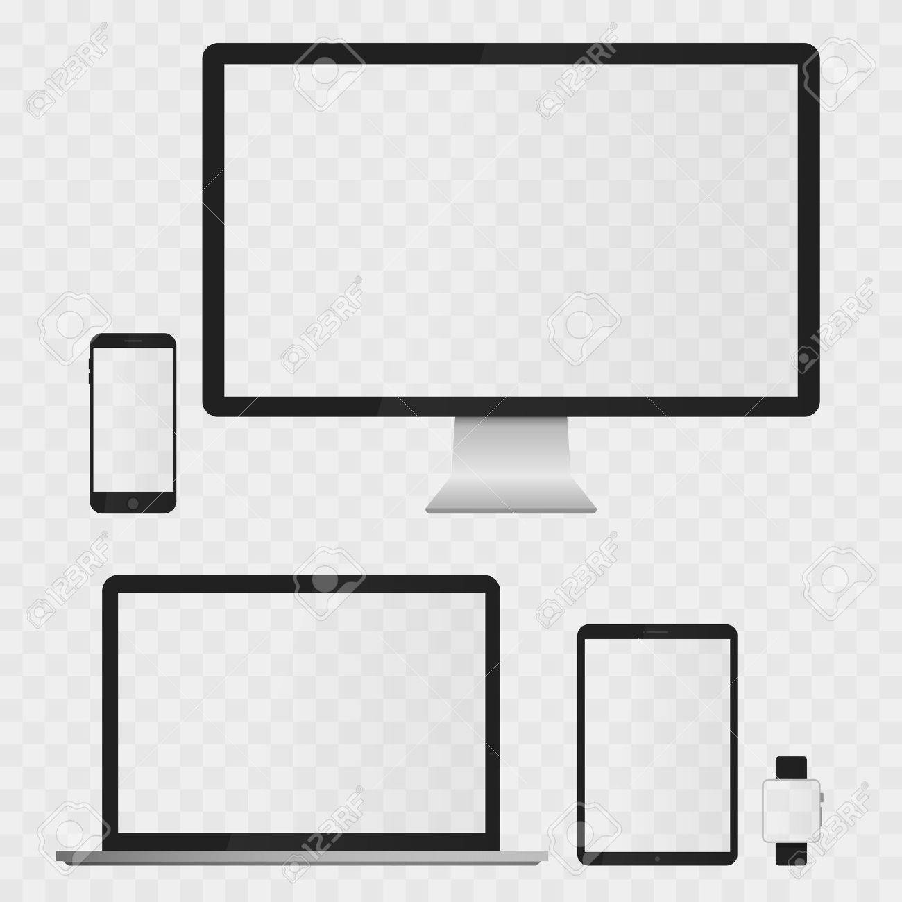 Electronic Devices Screens isolated on white background. Desktop computer, laptop, tablet and mobile phones with transparency. - 57048714