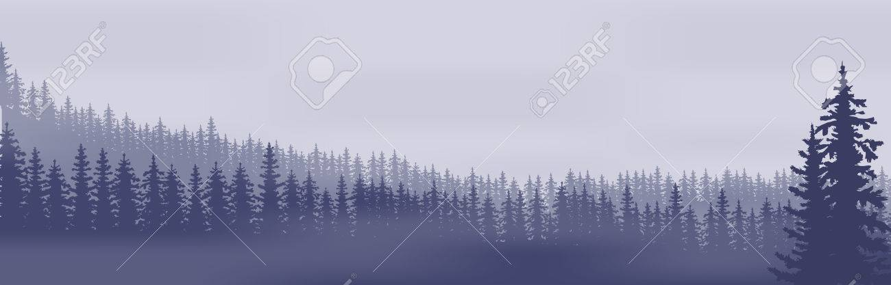 Horizontal abstract banners of hills of coniferous wood in dark blue tone. - 57405879