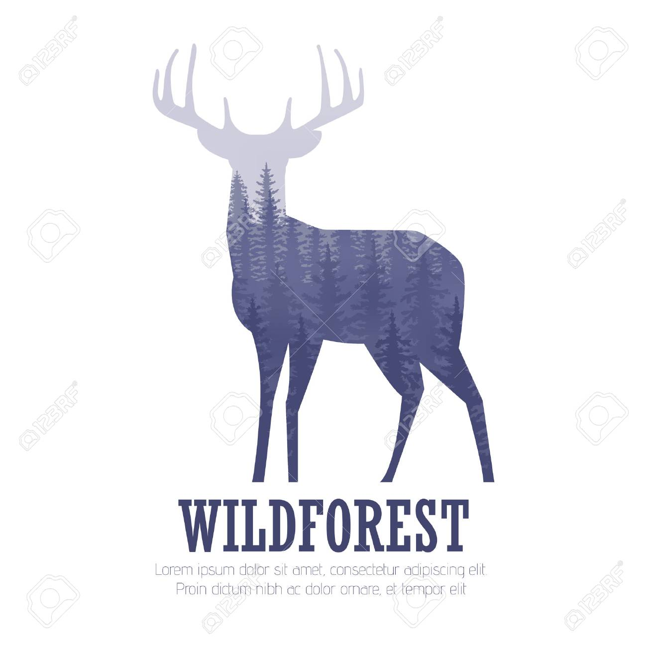 Silhouette of a deer with pine forest, blue and white colors background - 57405884