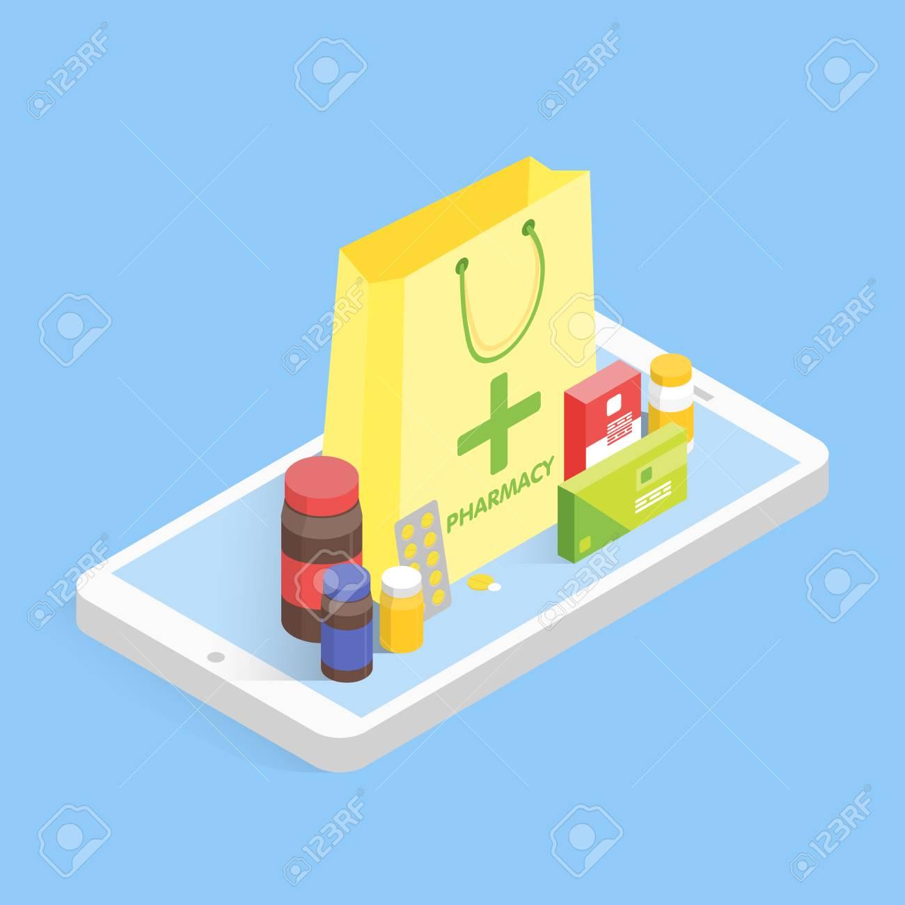 近代的な薬局とドラッグ ストアの概念等尺性携帯電話販売薬を買う
