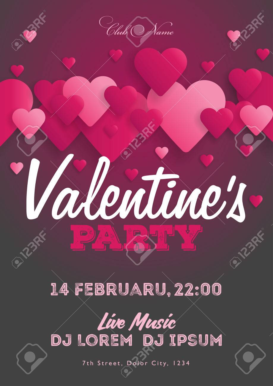 Valentine\'s Day Party Invitation Flyer. The Template For The ...