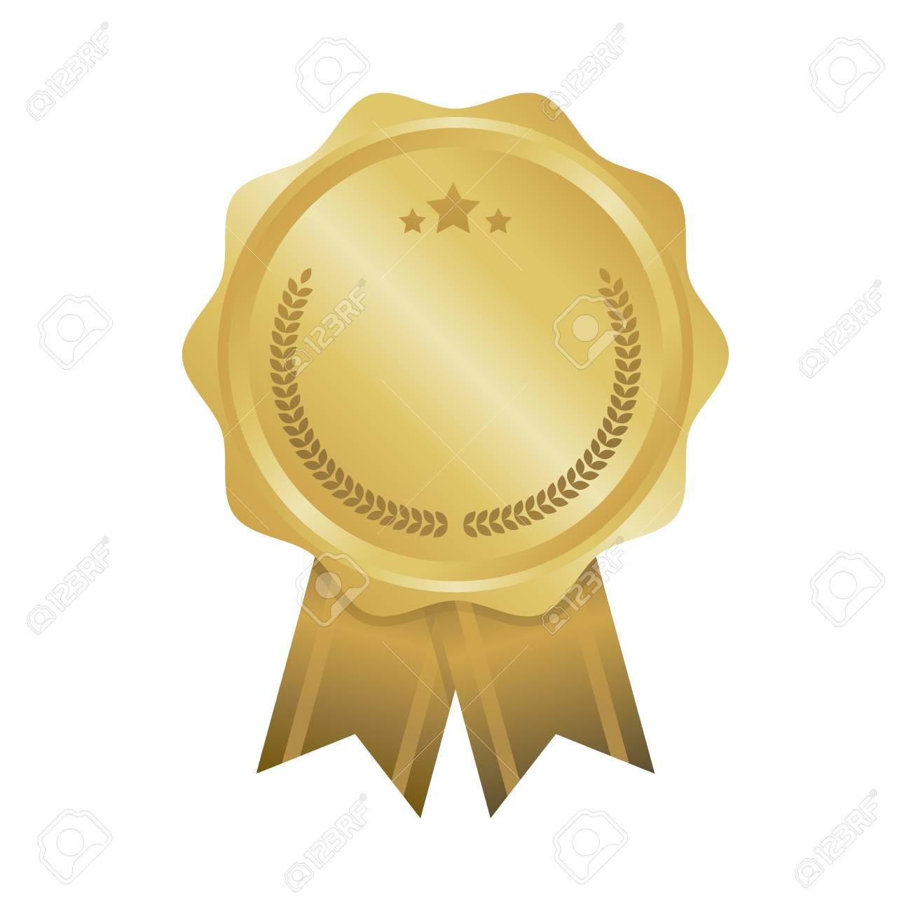 Modern gold circle metal badge, label and design elements. Vector illustration. - 69994028