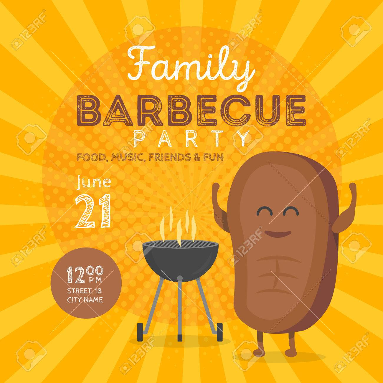 family bbq party invitation template cute steak character barbecue