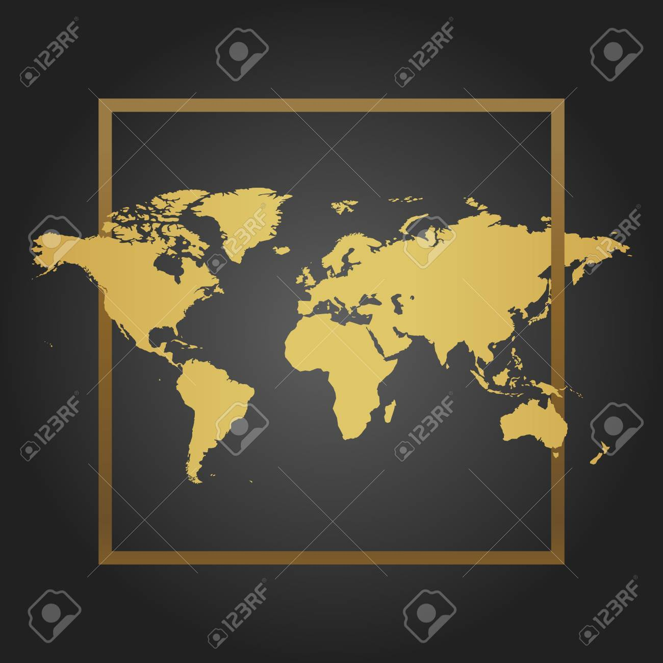 Golden political world map in black background with frame space golden political world map in black background with frame space for text and quotes gumiabroncs Images