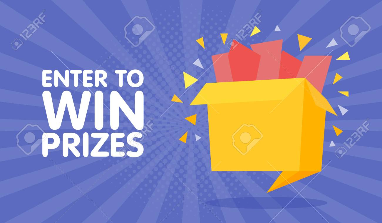 Enter to win prizes gift box. Cartoon origami style vector illustration. - 71509787