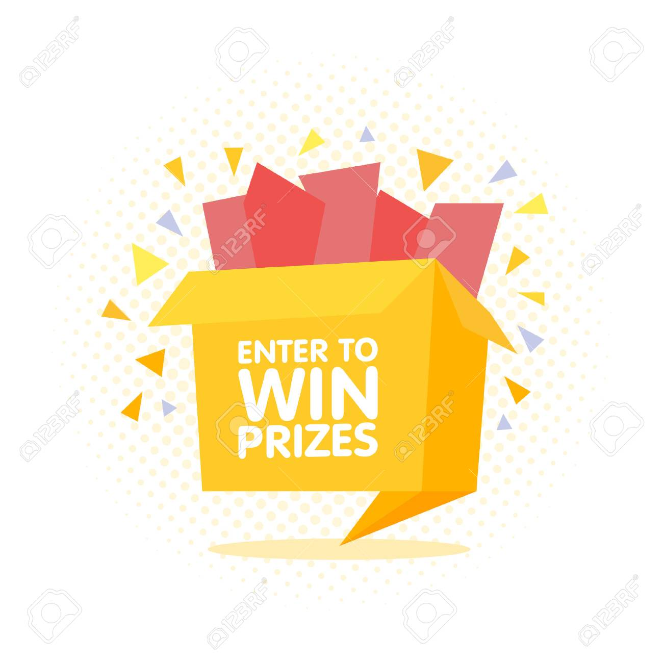 Enter to win prizes gift box  Cartoon origami style vector illustration