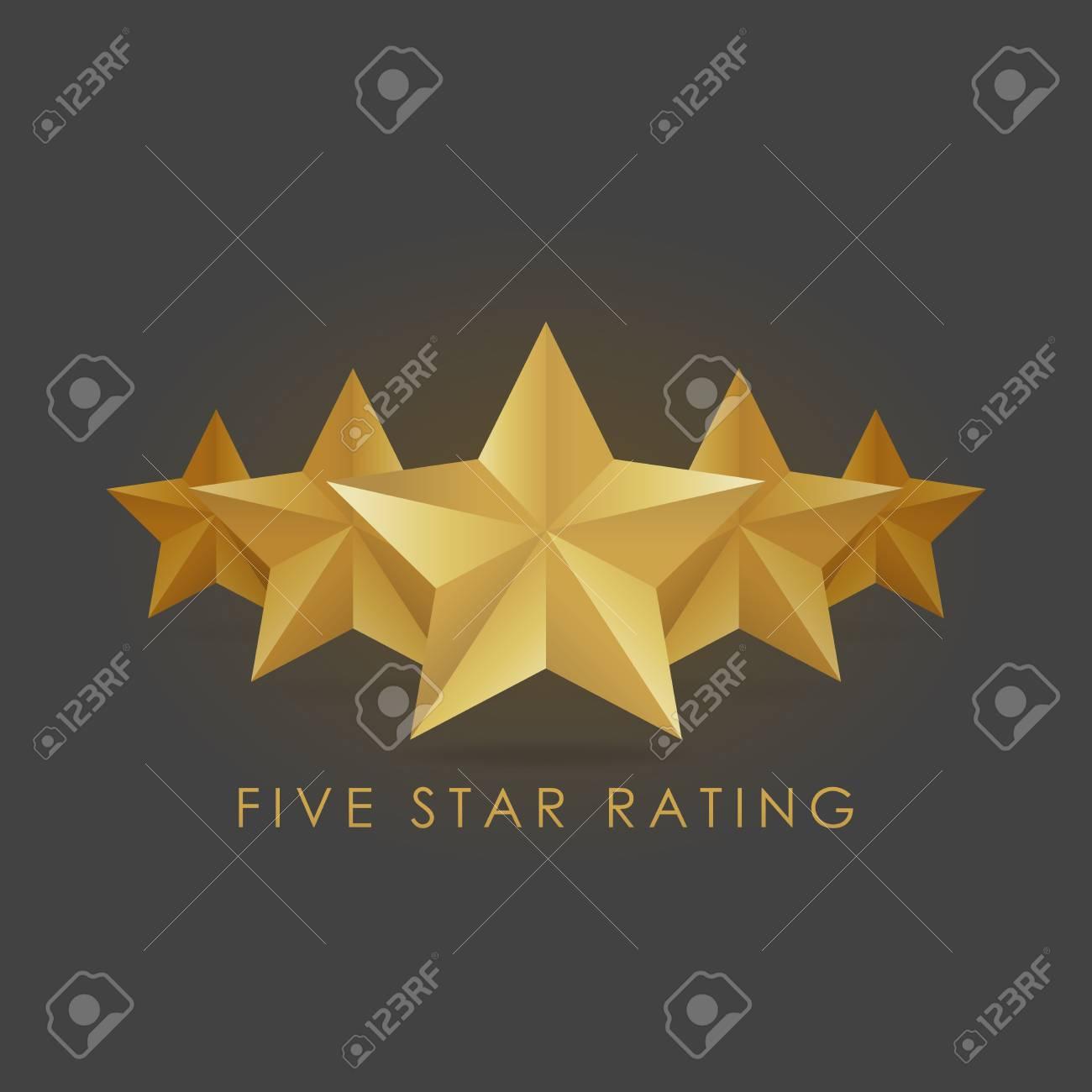 Five golden rating star vector illustration in gray black background. - 71509795