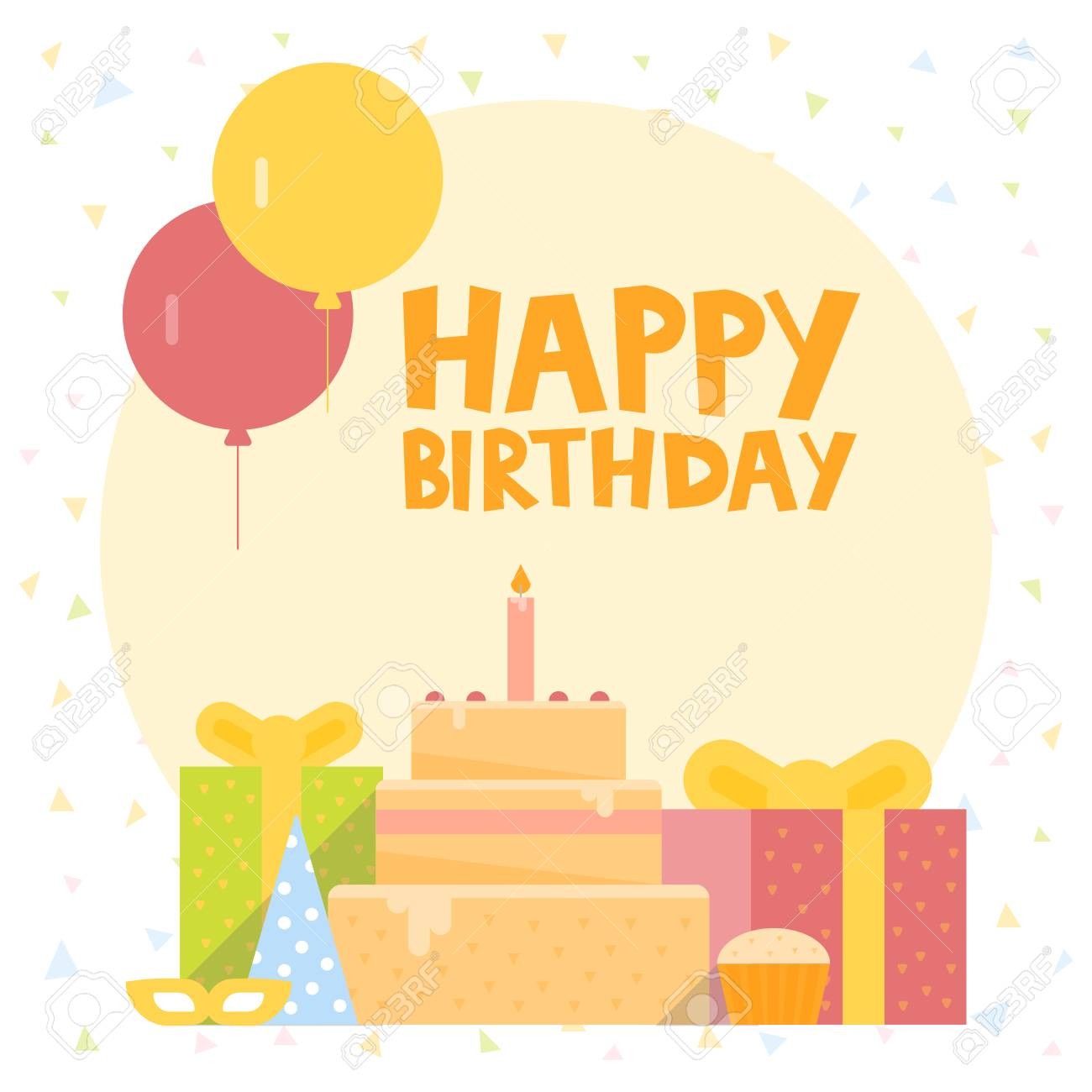 Happy Birthday Card Design With Ballons Confetti Cake And Gift