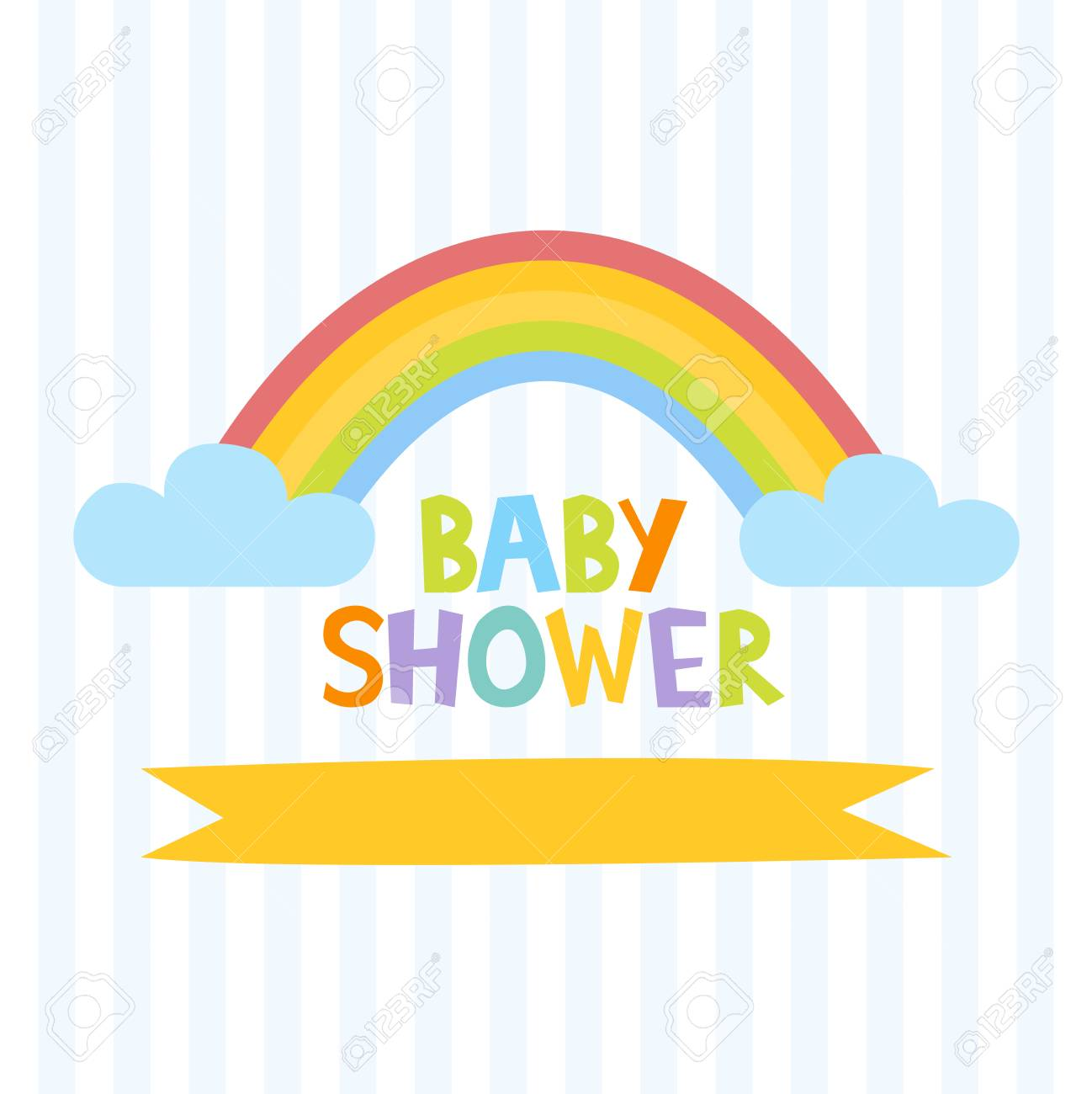 Cute Baby Shower Invitation Template With Letters And Rainbow ...