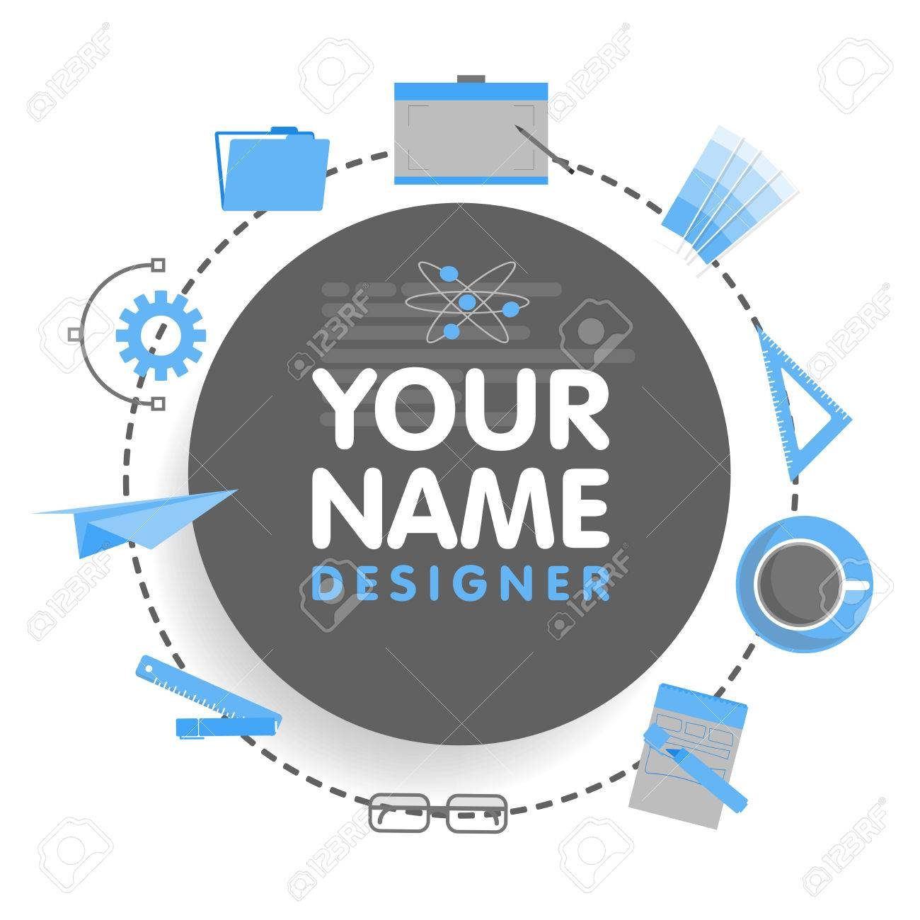 Social network designer avatar  Place for your name  Template