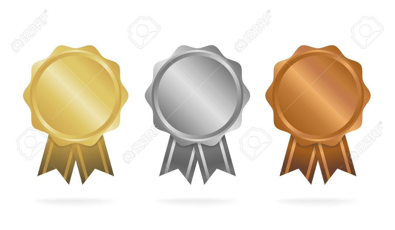 First place. Second place. Third place. Award Medals Set isolated on white with ribbons and stars. Vector illustration - 74375779