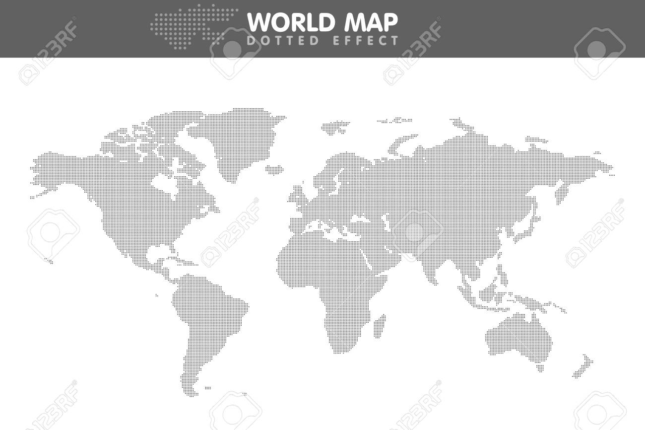 Dotted Gray World Map. Small Dot Vector Illustration. Royalty Free ...