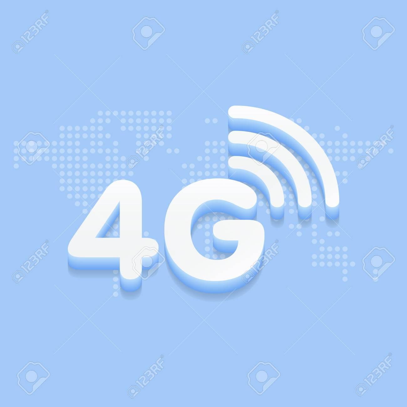 4g fast internet 3d sign in blue background and dotted world 4g fast internet 3d sign in blue background and dotted world map vector illustration stock sciox Choice Image