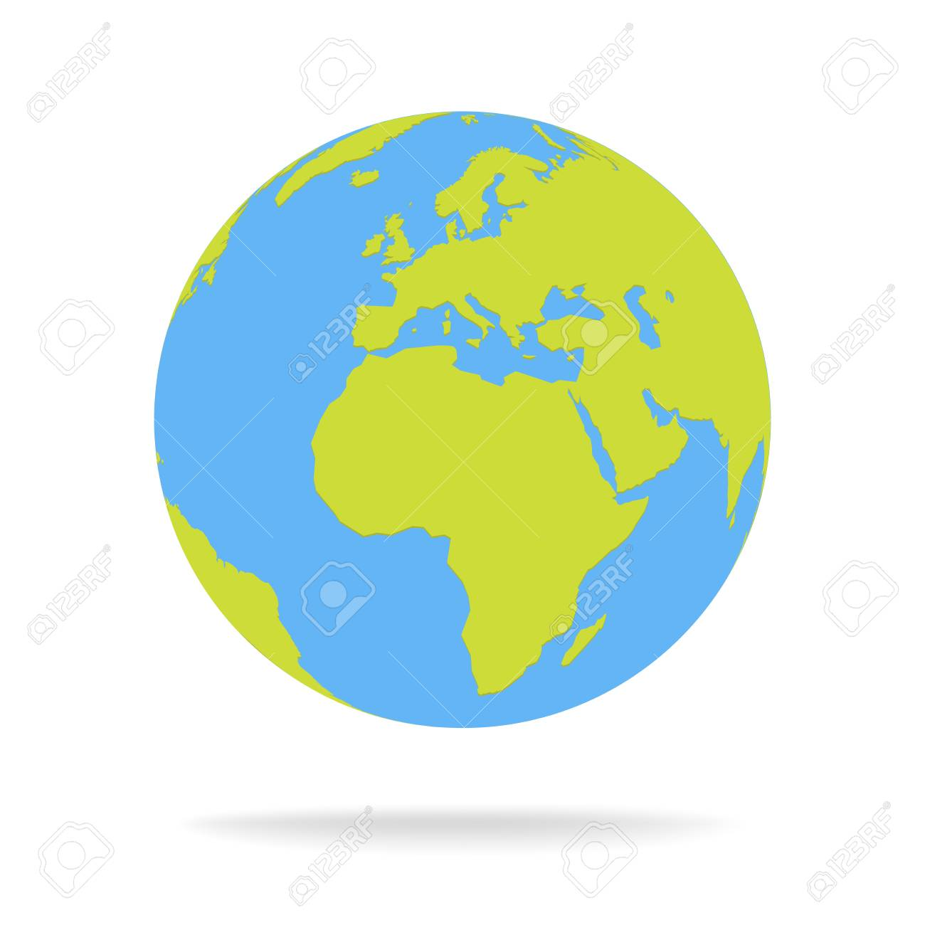 Green And Blue Cartoon World Map Globe Vector Illustration Royalty