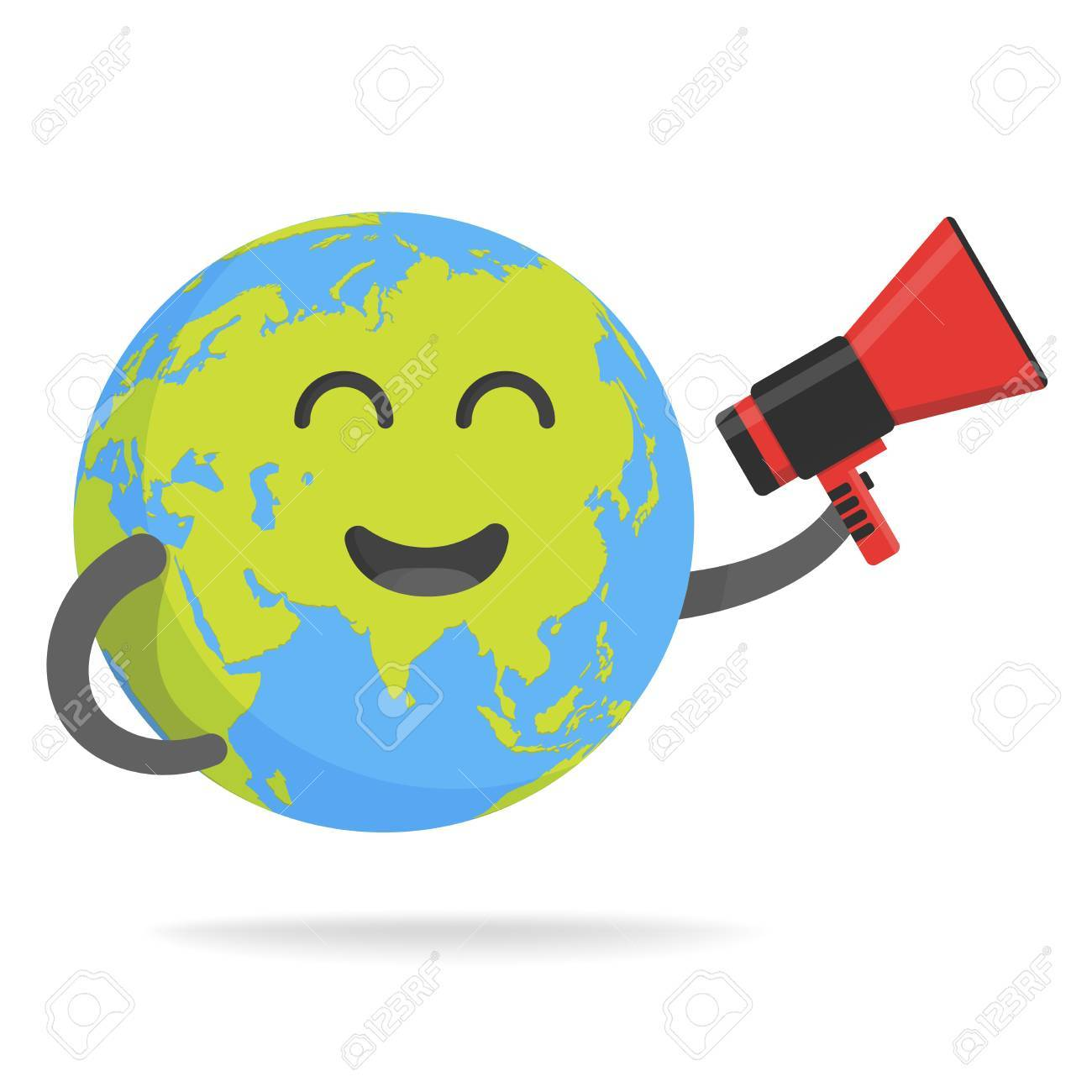 Cute cartoon earth character world map globe with smiley face cute cartoon earth character world map globe with smiley face and hands vector illustration stock sciox Images