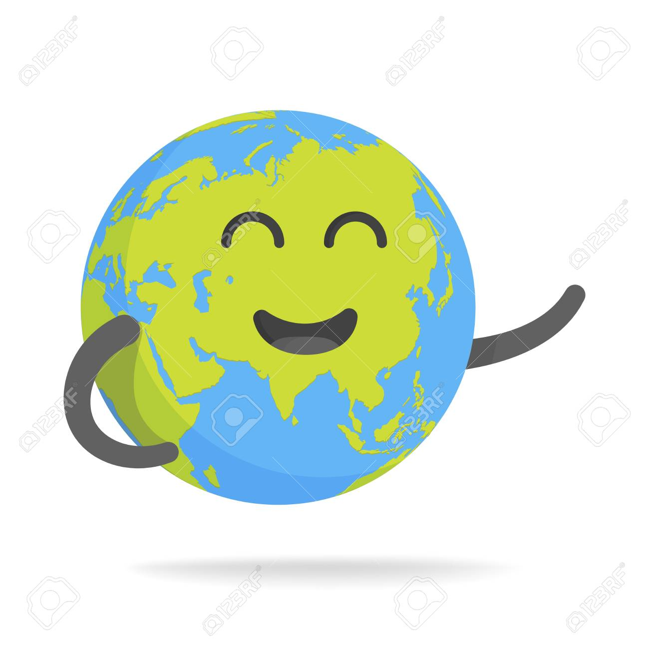 Cute Cartoon Earth Character World Map Globe With Smiley Face