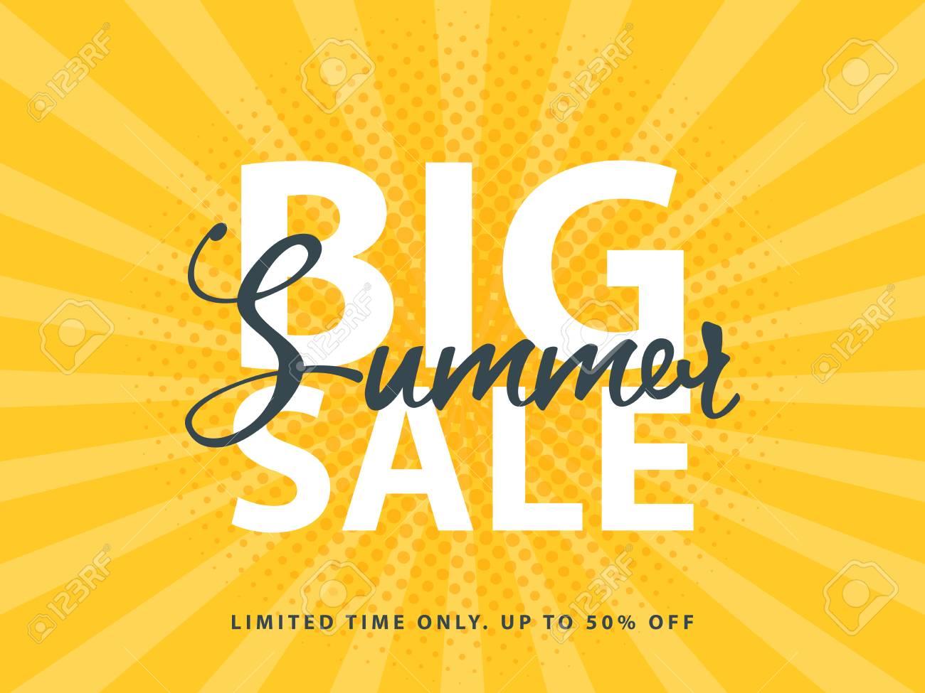 big summer sale sign with retro pop art halftone background