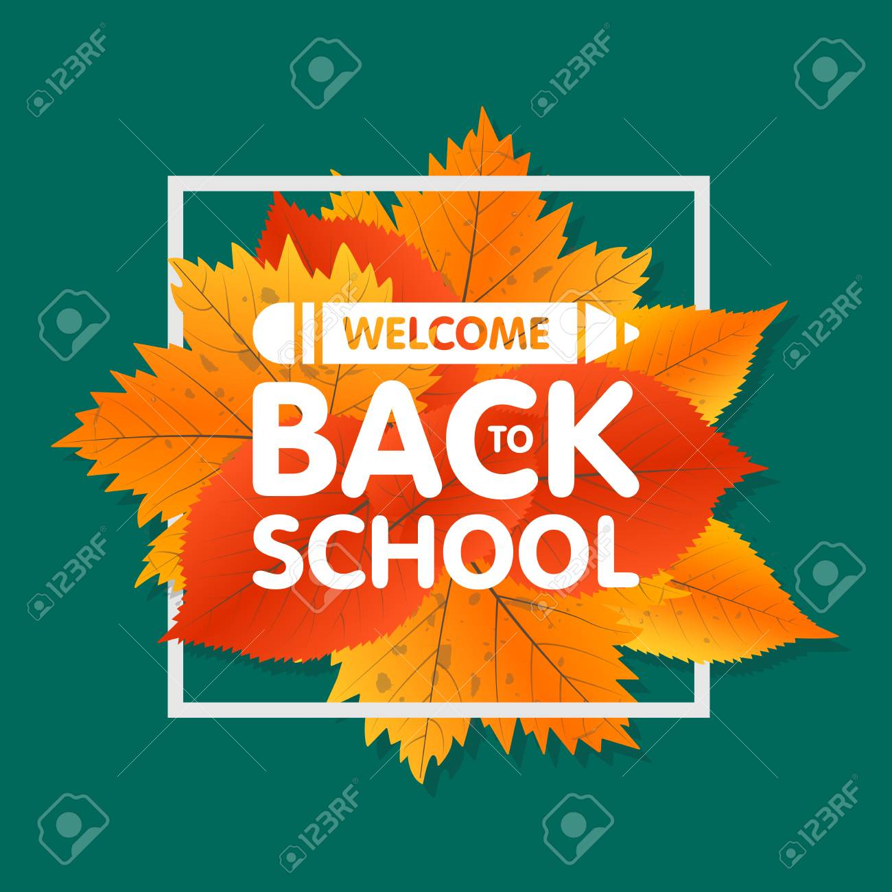 Autumn Season Welcome Back To School Painted Lettering Hand