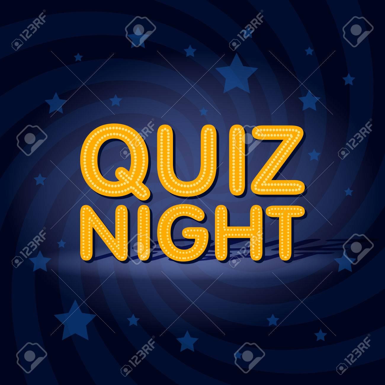 Quiz Night Neon Light Sign In Retro Twist Background With Stars ...