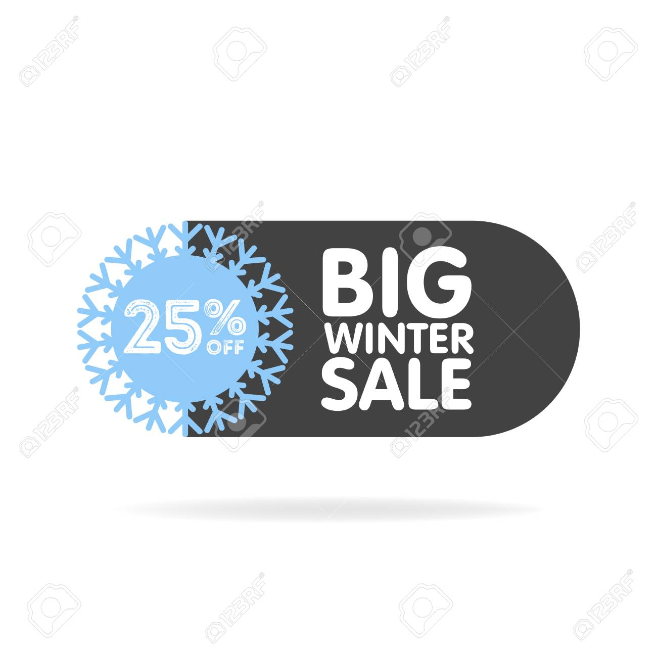 Vector winter sale and discount snowflake promotional stickers