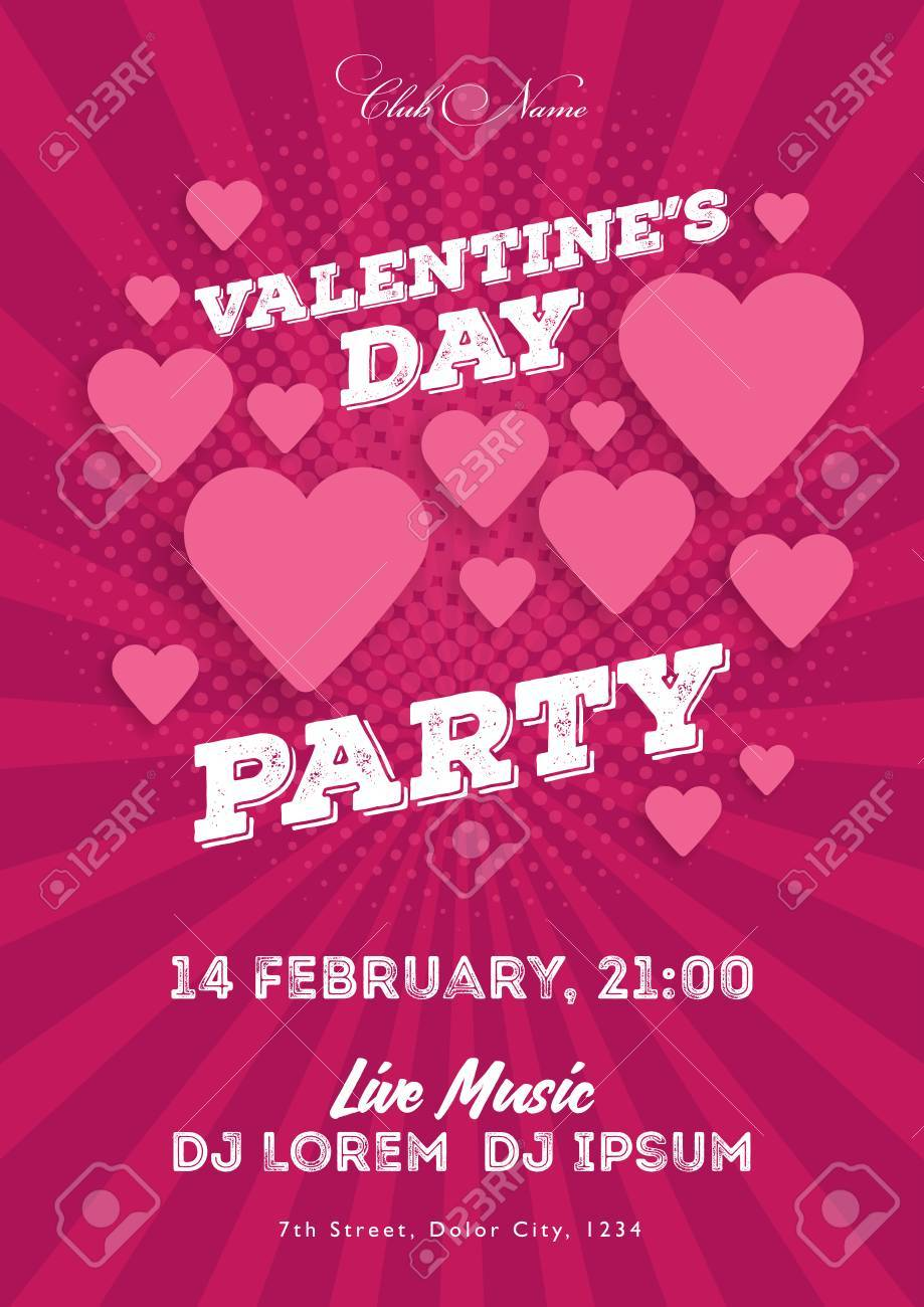 Valentine\'s Day Invitation Flyer. The Template For The Club ...