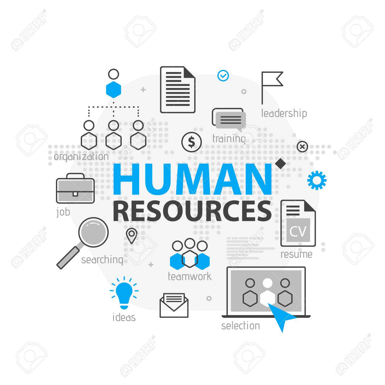 Human Resources Web Banner Concept Outline Line Business Icon - Unique outline template for presentation concept