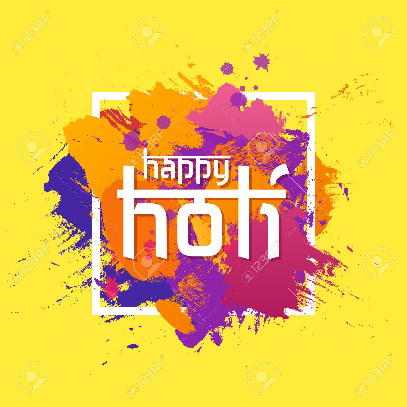 Happy Holi spring festival of colors greeting vector background with colorful powder paint clouds. Blue, yellow, pink and violet. Vector illustration. - 94316401