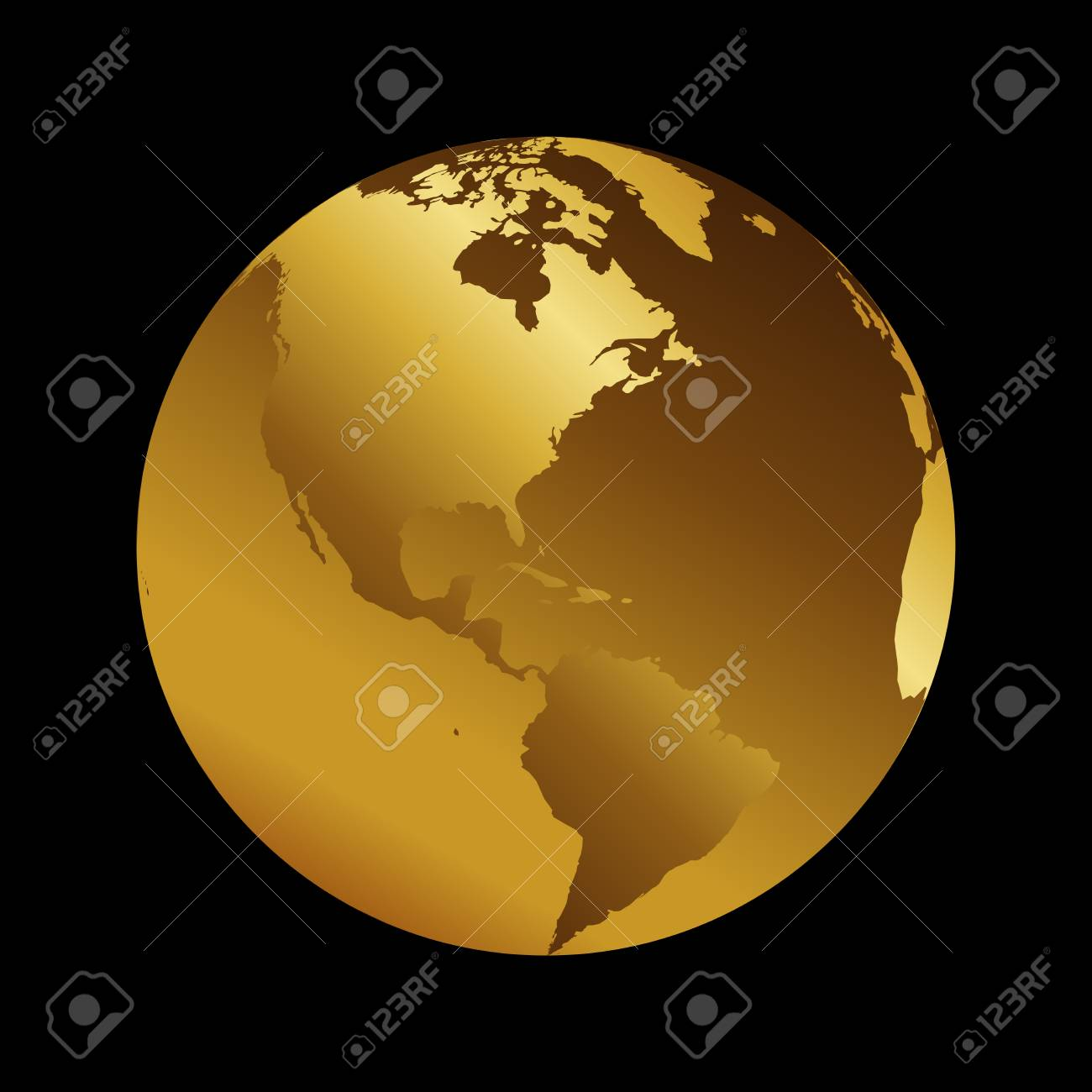 America golden 3d metal planet backdrop view usa and brazil america golden 3d metal planet backdrop view usa and brazil world map vector illustration on gumiabroncs Choice Image