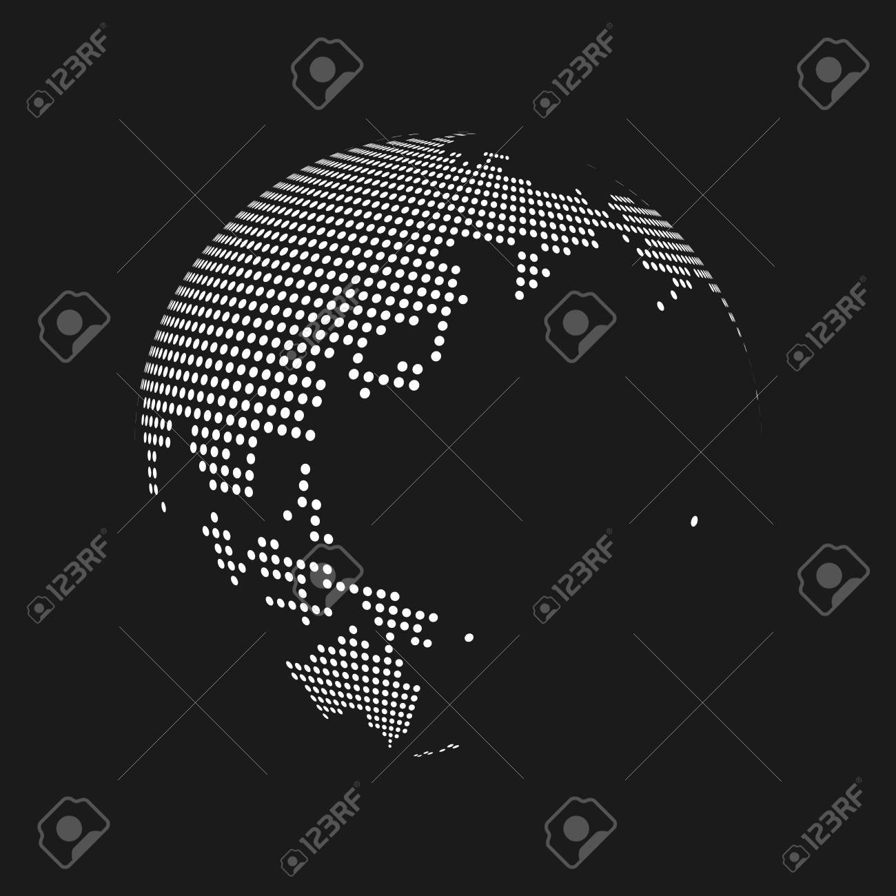 White dotted 3d earth world map globe in black background vector vector white dotted 3d earth world map globe in black background vector illustration gumiabroncs Images