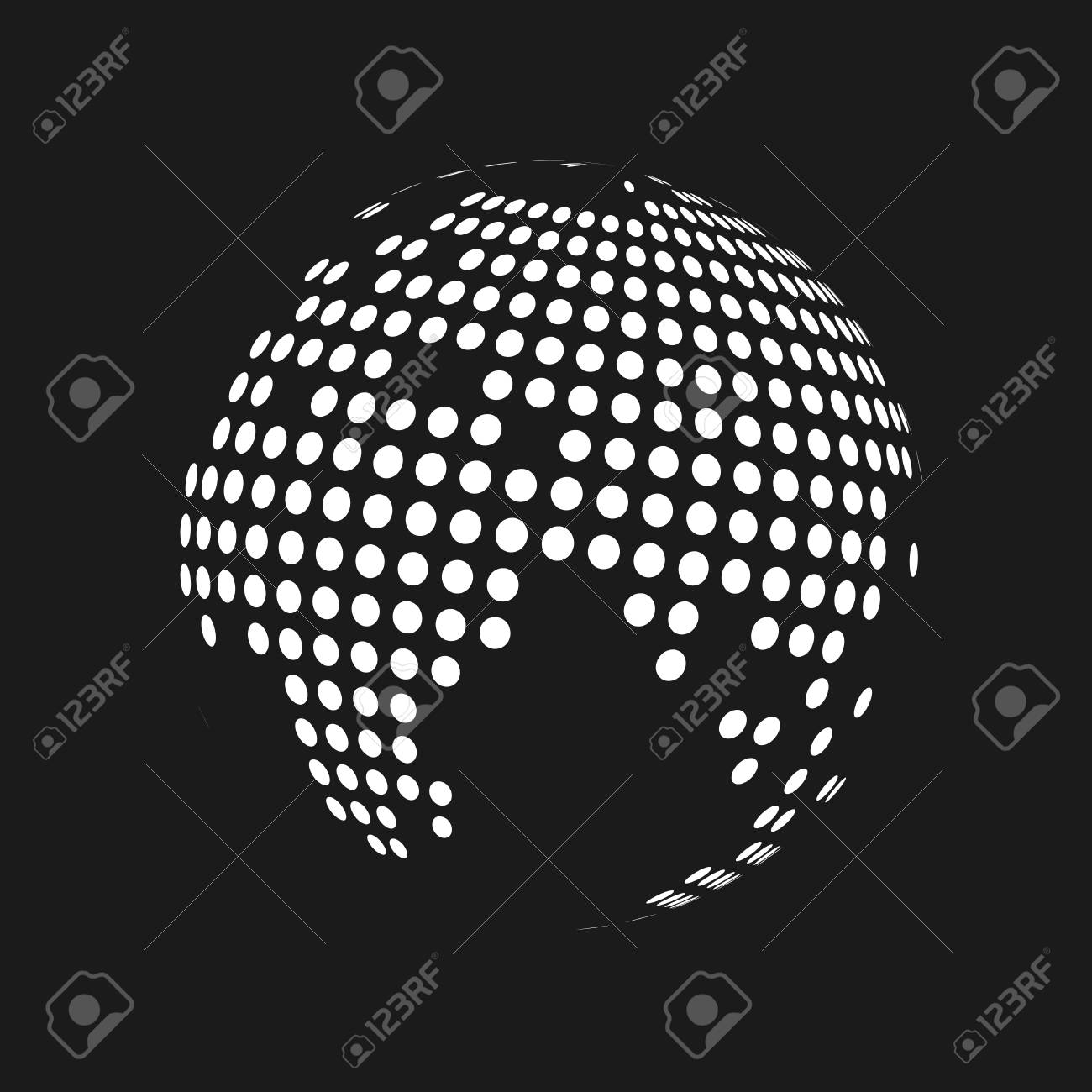 White dotted 3d earth world map globe in black background vector foto de archivo white dotted 3d earth world map globe in black background vector illustration gumiabroncs Images