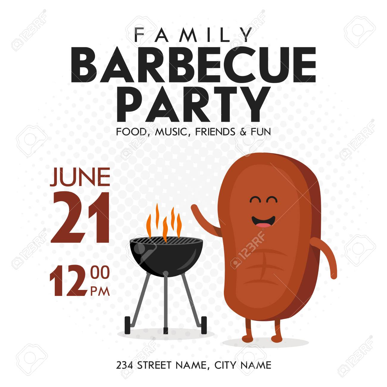 Family BBQ Party Invitation Template. Cute Steak Character Barbecue ...