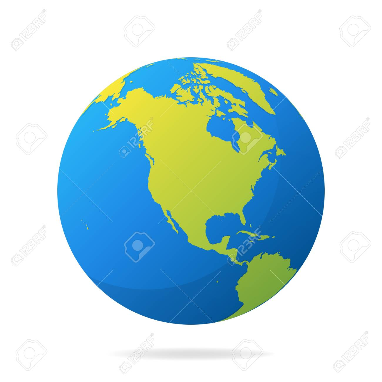 Earth globe with green continents modern 3d world map concept ball vector illustration earth globe with green continents modern 3d world map concept world map realistic blue gumiabroncs Gallery