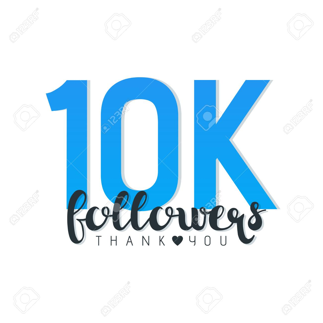 Vector illustration of 10K Followers Thank You words isolated
