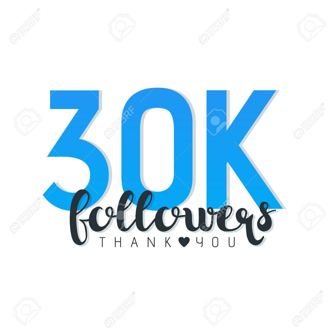 vector illustration of 30k followers thank you words isolated