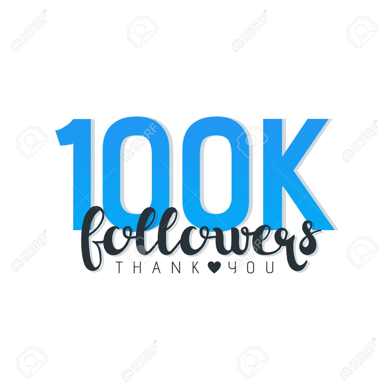 100K followers thank you letters vector illustration