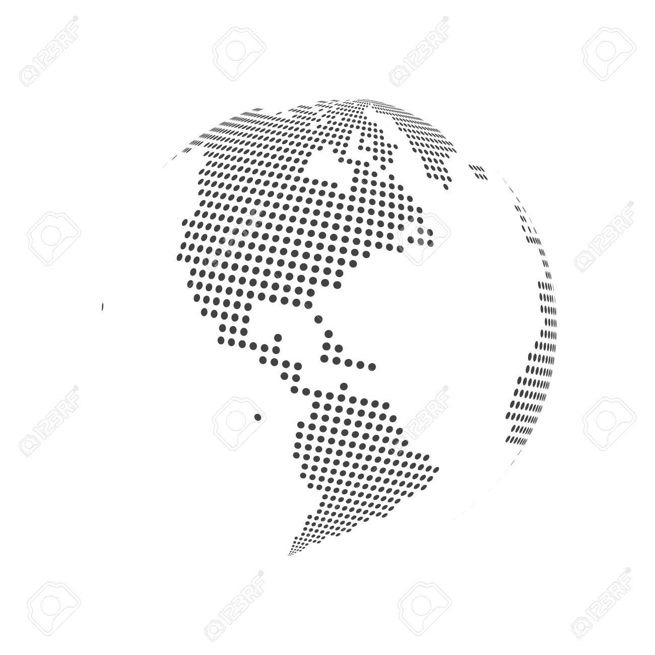 Abstract Dotted Globe Earth World Map. Vector Illustration ...