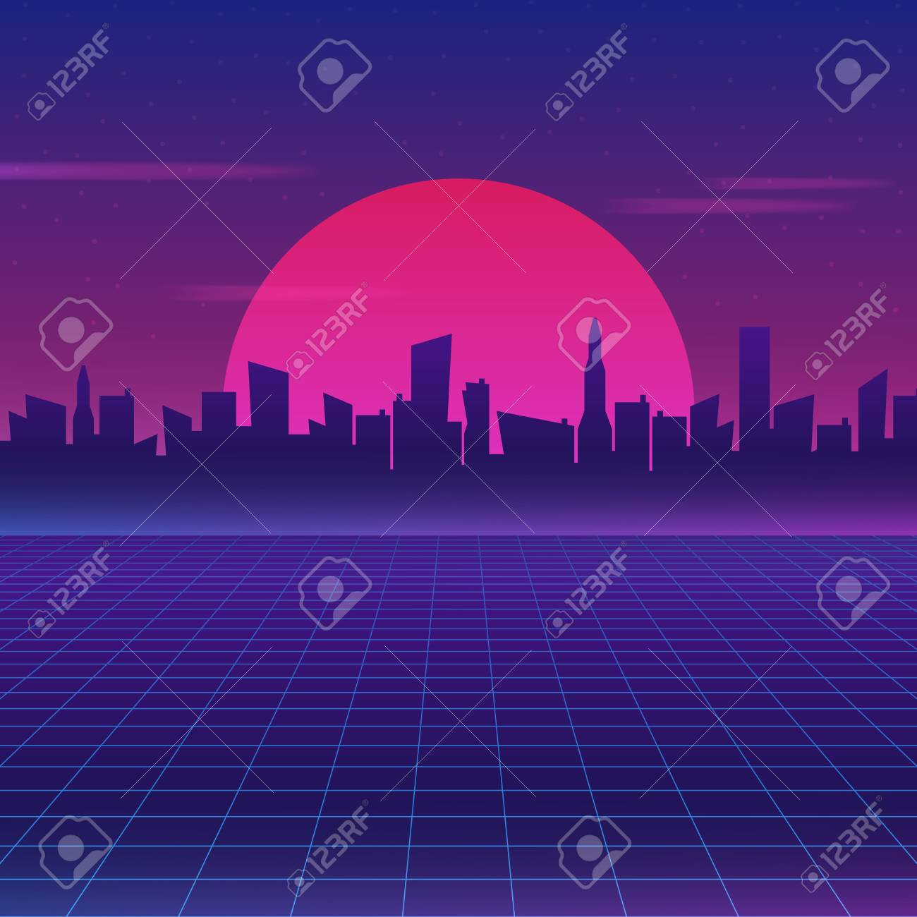 Retro Future 80s Style Sci Fi Wallpaper Futuristic Night City