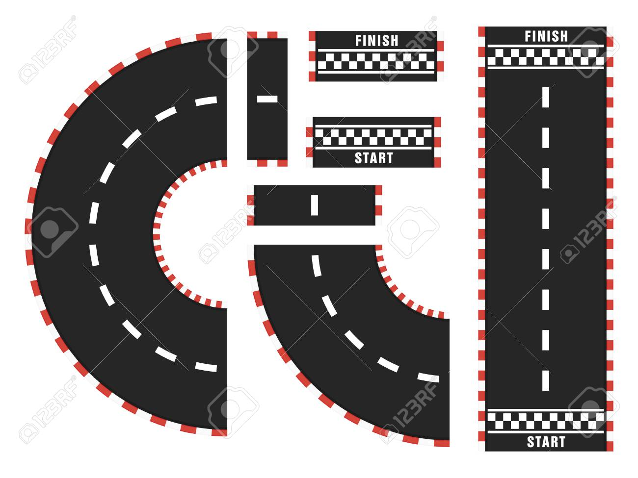 Race track with start and finish line. top view - 118161207