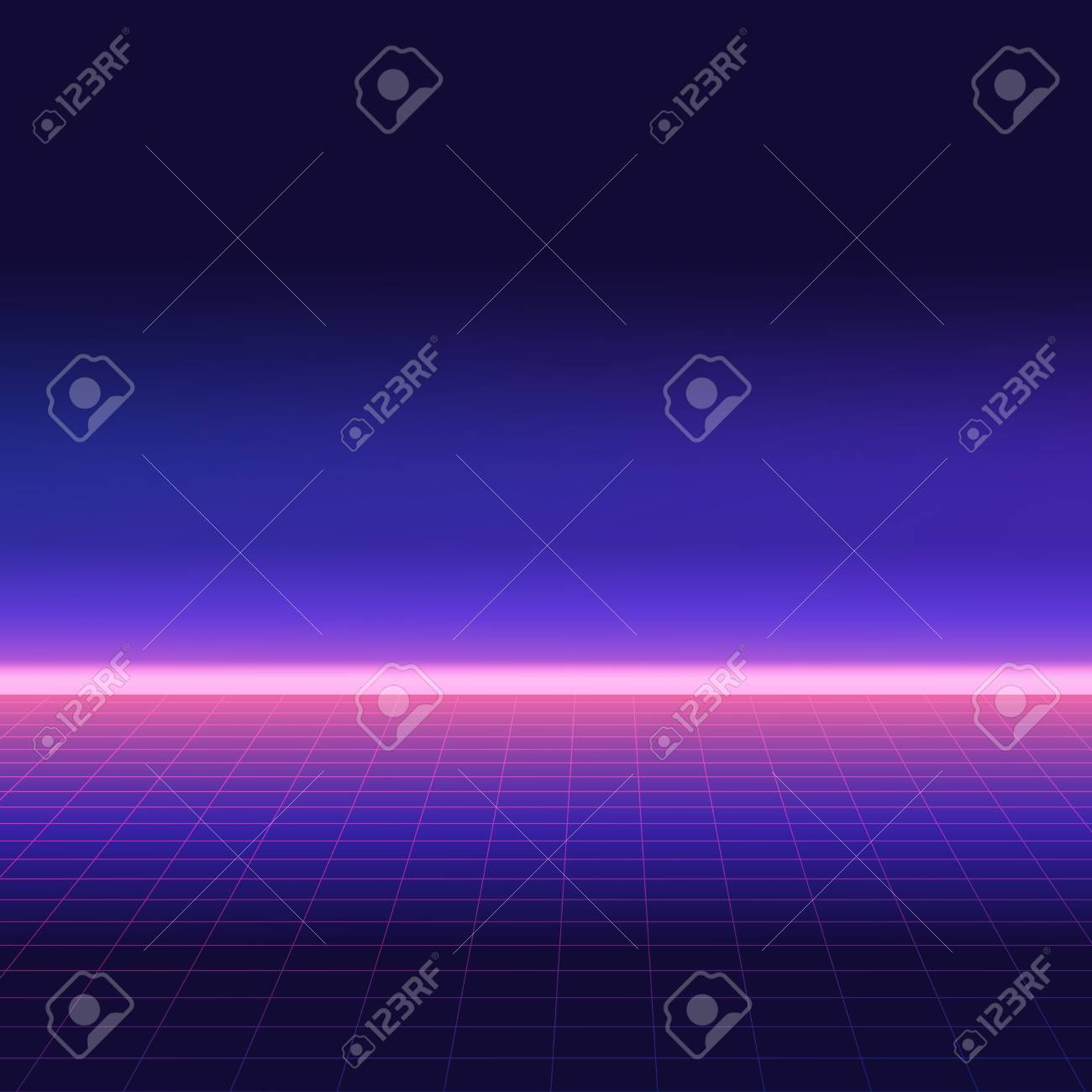 Abstract retro background, 80s style. Futuristic digital landscape, neon party flyer. Vector illustration. - 122506368