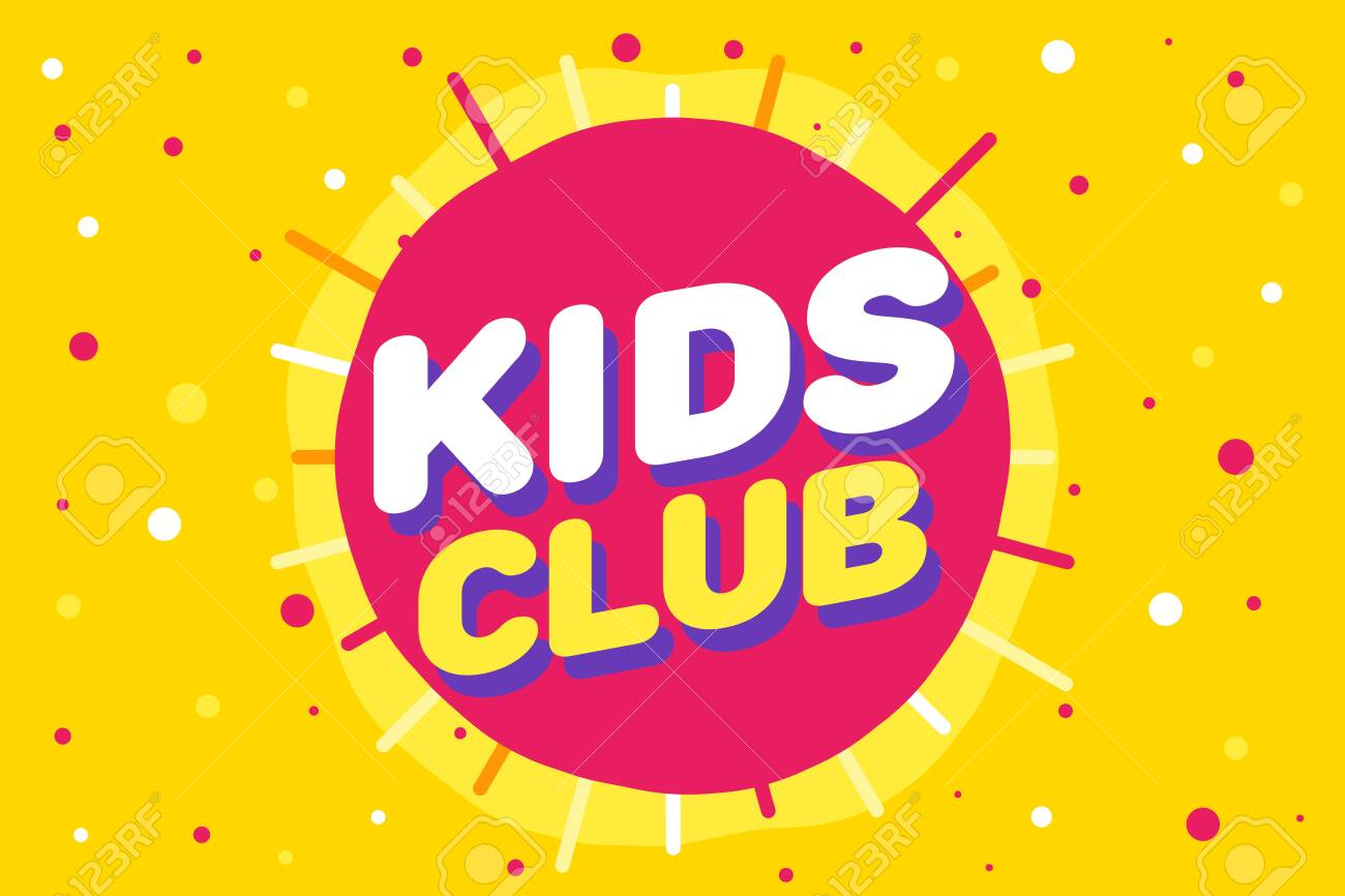 Kids Club Letter Sign Poster Vector Illustration In Yellow Sun