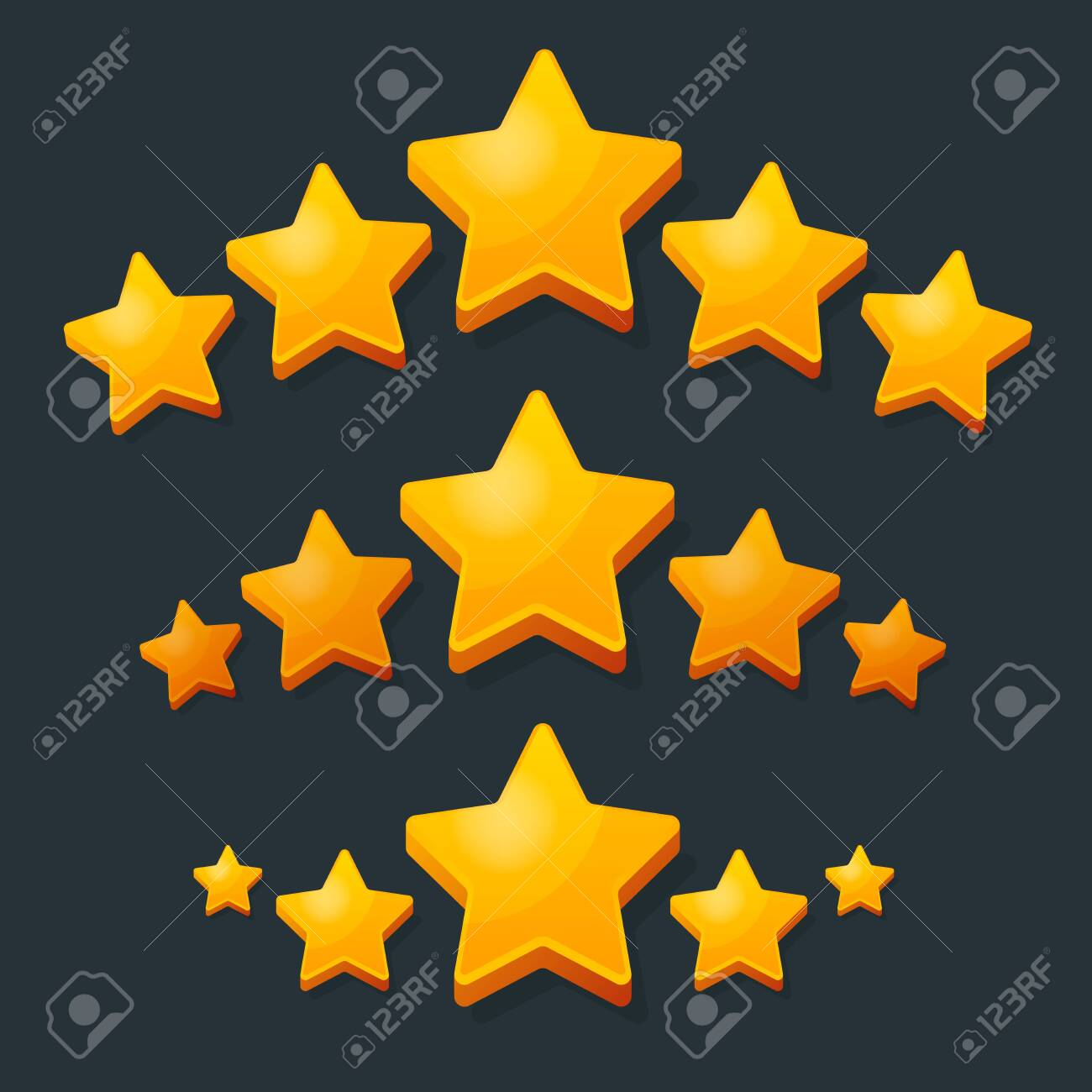 Five Stars Rating Gold icon. 3D cartoon game design ui elements. Win Prizes, Ratting, Award, Success concept. Vector illustration. - 132873849