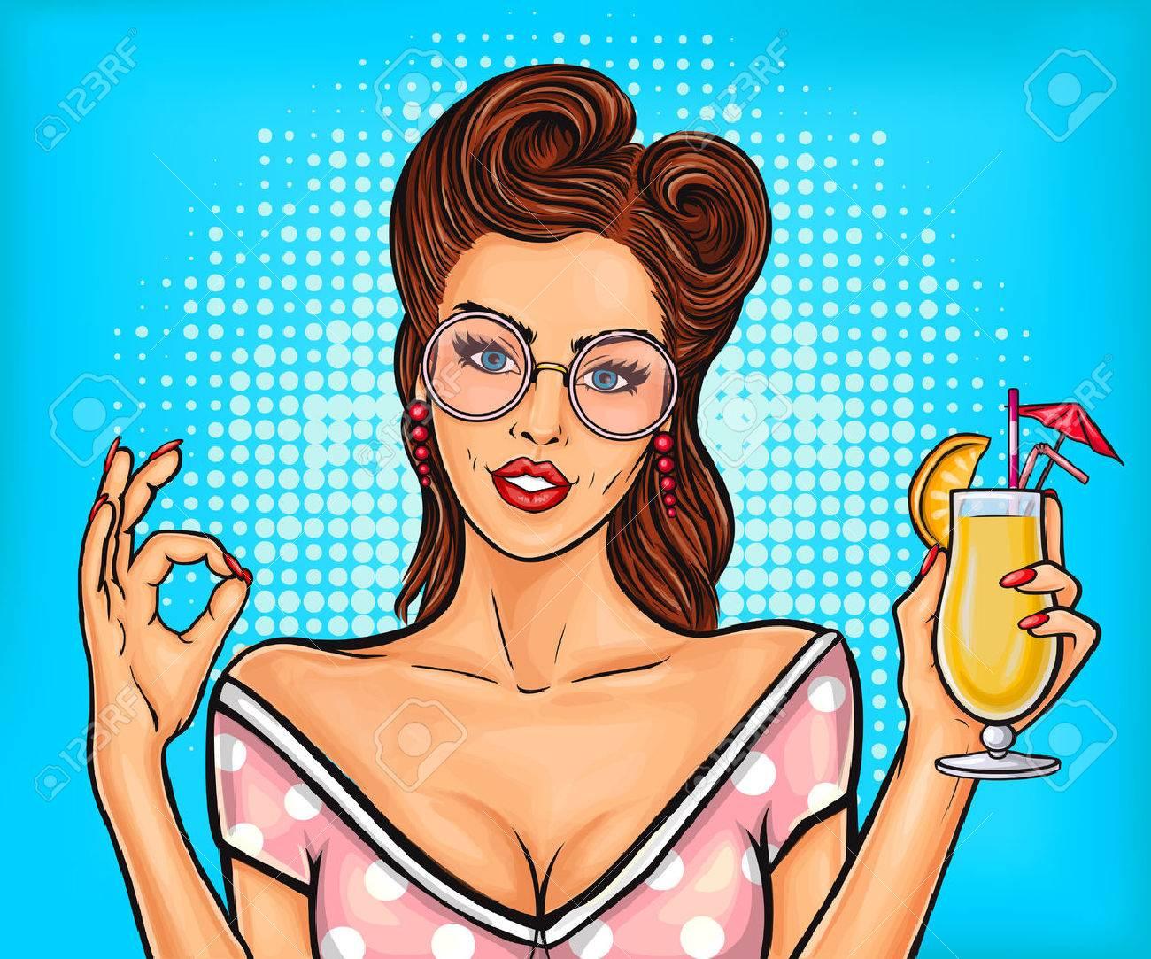Vector Vector Illustration Of A Sexy Pop Art Girl Shows Sign Ok