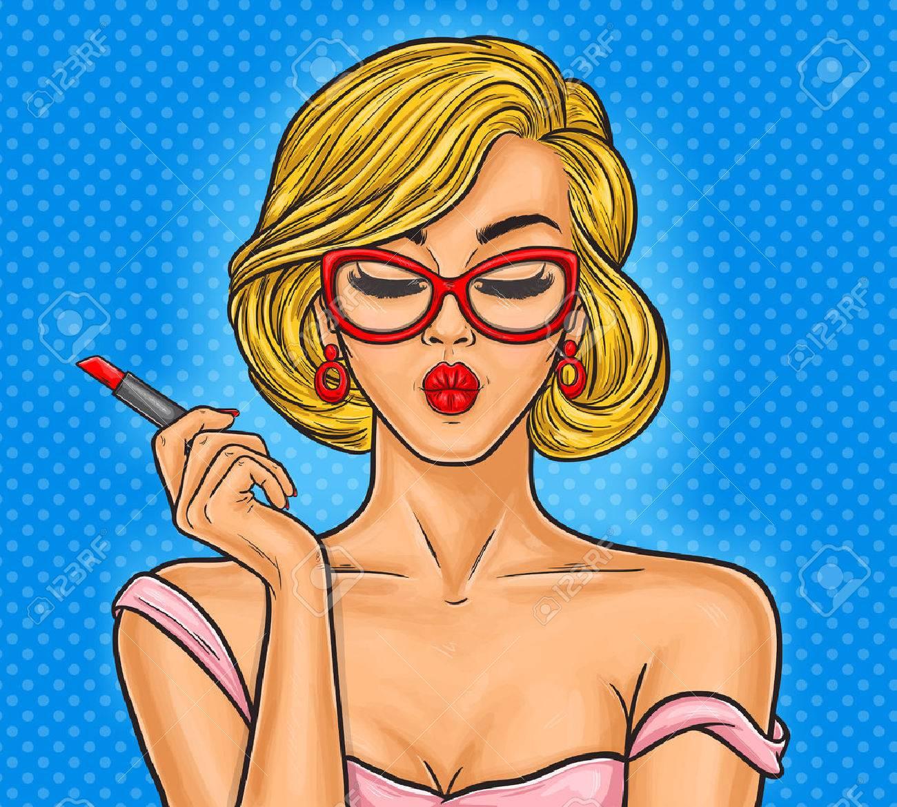 Vector pop art illustration woman paints her lips. - 68322267