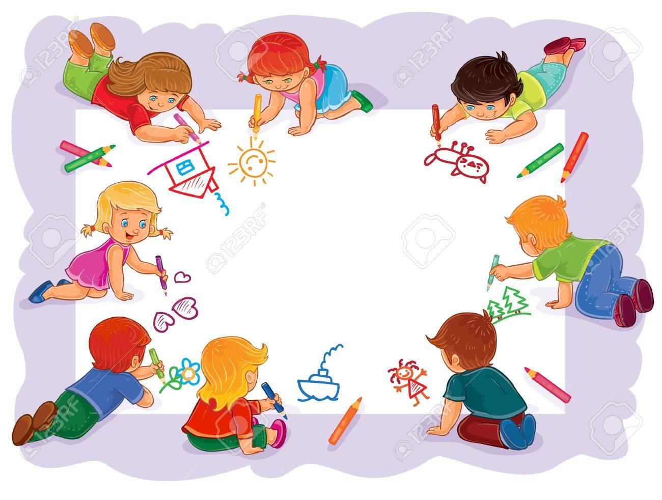 Ilustración Del Vector De Niños Felices Dibujar En Una Hoja Grande ...