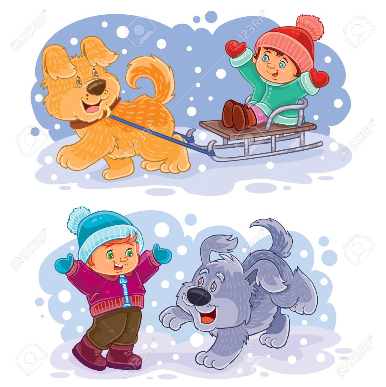 犬たちと外で遊ぶ冬ベクトル クリップ アート イラスト小さな子供の