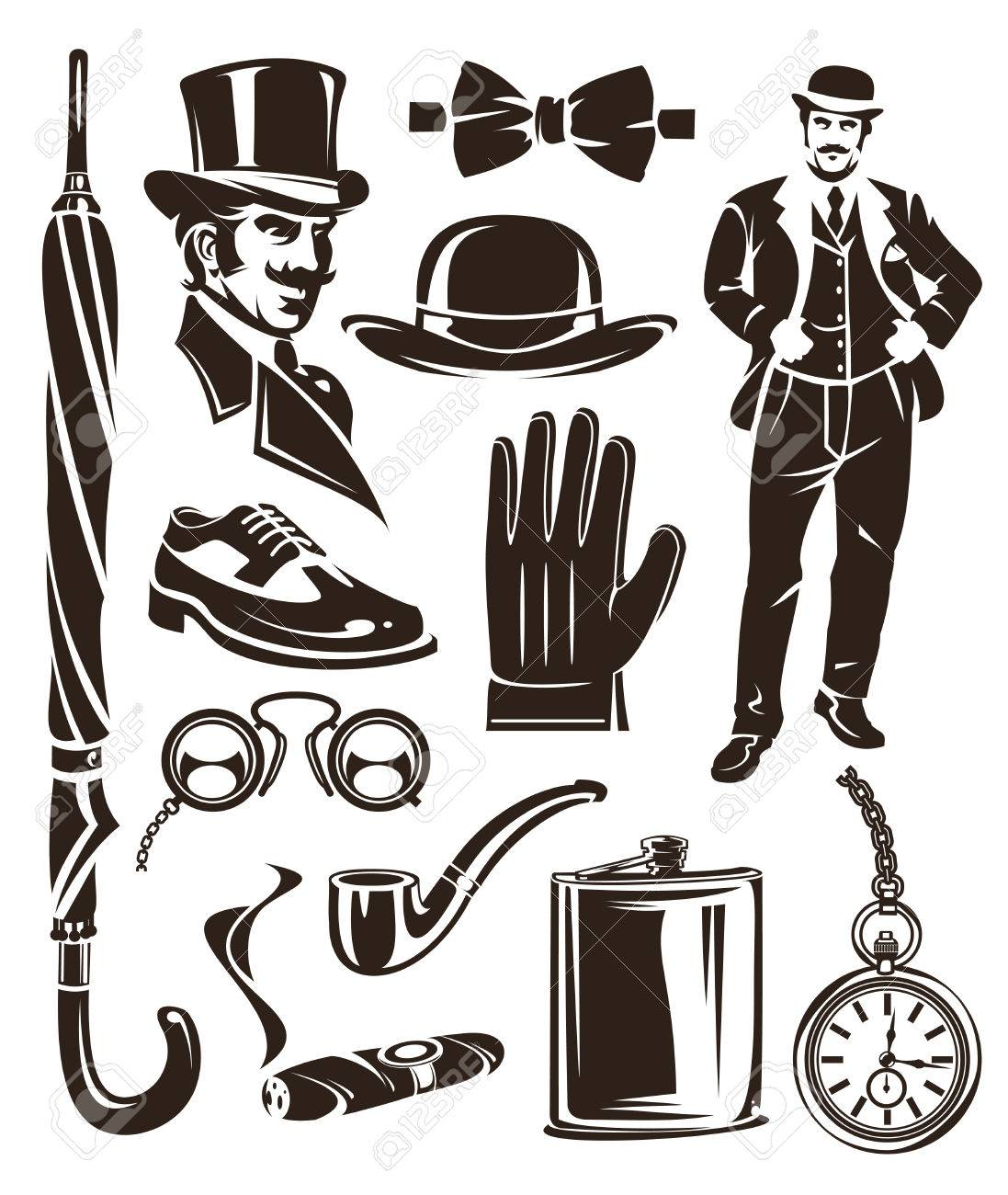 0ff783564a4f10 Set of vector vintage gentleman emblems, labels, icons and design elements.  Stock Vector
