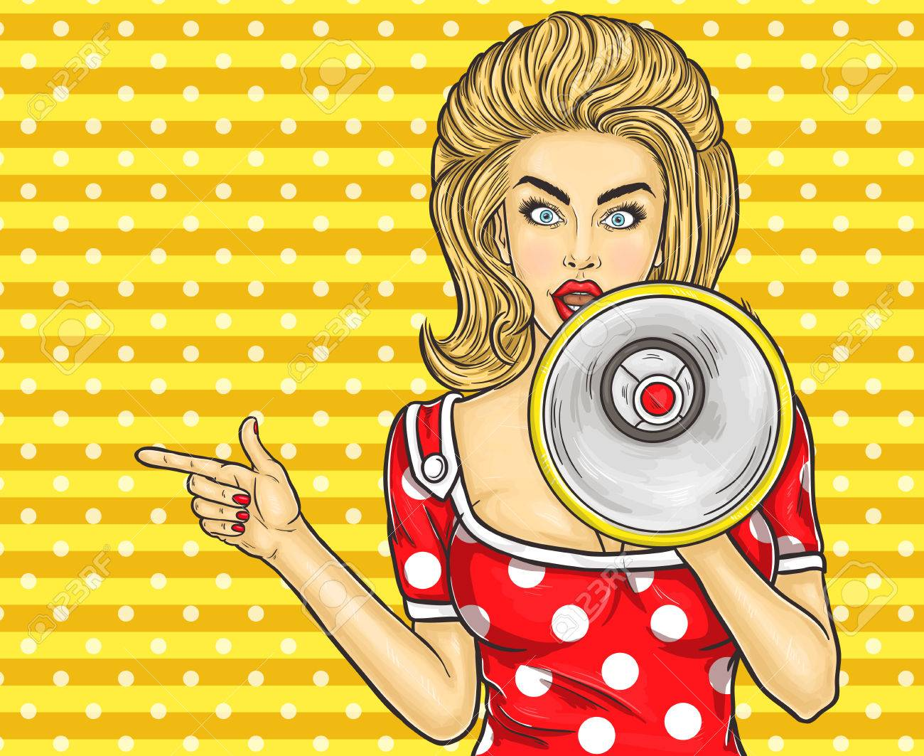 Vector illustration pop art girl with megaphone announce discounts and sales - 68647907